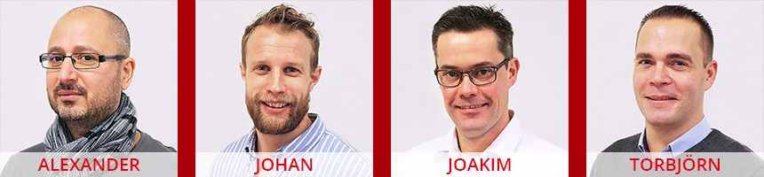 Ansiktsbilder på Sharp Kronobergs säljkår (Alexander Papamichailidis, Johan Andersson, Joakim Andersson, Torbjörn Sandberg).